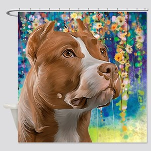 Pit Bull Painting Shower Curtain