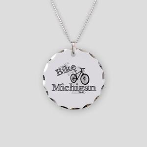Bike Michigan Necklace Circle Charm