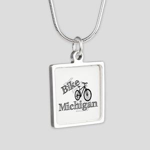 Bike Michigan Silver Square Necklace