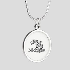 Bike Michigan Silver Round Necklace
