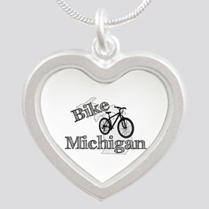 Bike Michigan Silver Heart Necklace