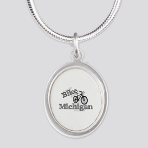 Bike Michigan Silver Oval Necklace