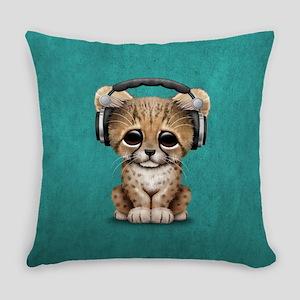 Cute Cheetah Cub Dj Wearing Headphones on Blue Eve