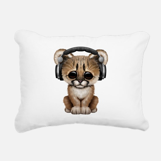 Cute Cougar Cub Dj Wearing Headphones Rectangular
