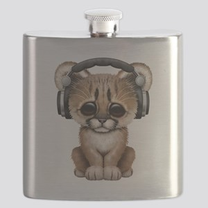 Cute Cougar Cub Dj Wearing Headphones Flask