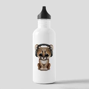 Cute Cougar Cub Dj Wearing Headphones Water Bottle