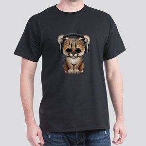Cute Cougar Cub Dj Wearing Headphones T-Shirt