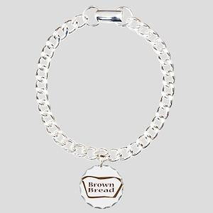 Brown Bread Outline shap Charm Bracelet, One Charm