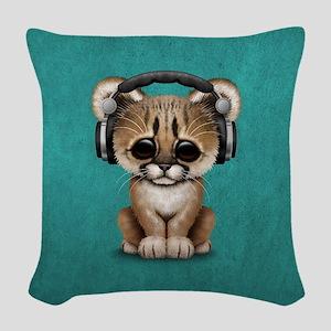 Cute Cougar Cub Dj Wearing Headphones on Blue Wove