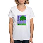 Happy Tree Hugger Women's V-Neck T-Shirt
