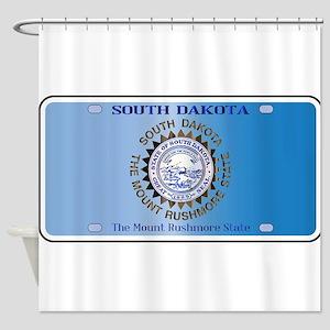 South Dakota License Plate Flag Shower Curtain