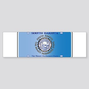 South Dakota License Plate Flag Bumper Sticker