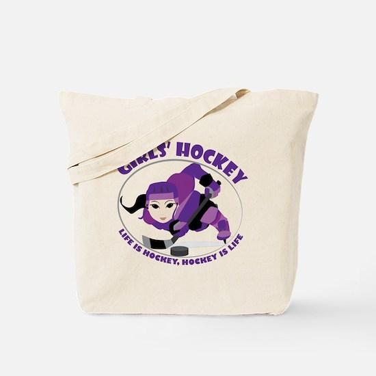 Girls' Ice Hockey Tote Bag