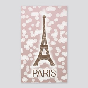 Paris: City of Light, Eiffel Tower (Pink) Area Rug