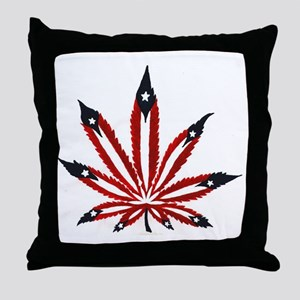 PR Weed Leaf Throw Pillow