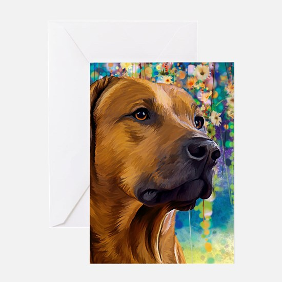 Rhodesian Ridgeback Painting Greeting Cards