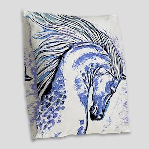 Purple Horse Burlap Throw Pillow