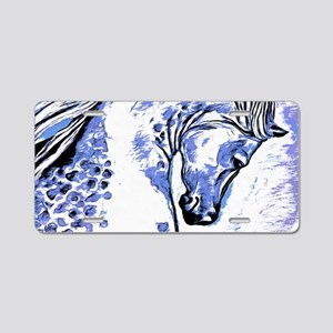 Purple Horse Aluminum License Plate