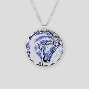 Purple Horse Necklace Circle Charm