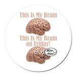 My Brain On Friday Round Car Magnet