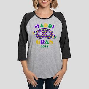 Mask Mardi Gras 2018 Womens Baseball Tee