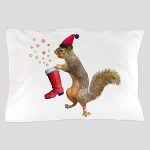 Squirrel Red Boot Pillow Case