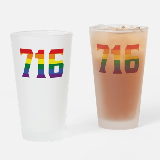 Gay Pride 716 Buffalo Area Code Drinking Glass