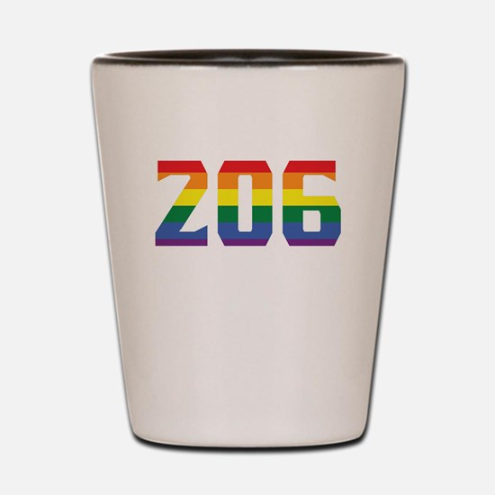 Gay Pride 206 Seattle Area Code Shot Glass