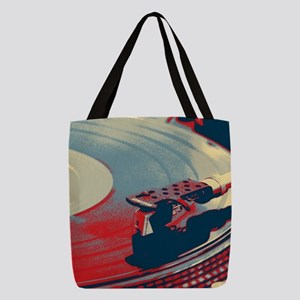 vintage retro record player Polyester Tote Bag