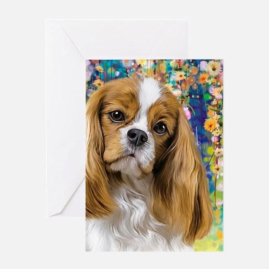 Cavalier King Charles Spaniel Painting Greeting Ca