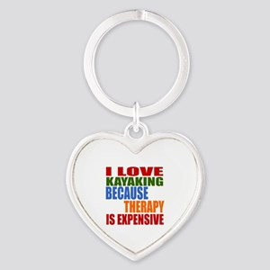I Love Kayaking Because Therapy Is Heart Keychain