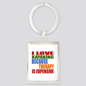 I Love Kayaking Because Therapy Portrait Keychain