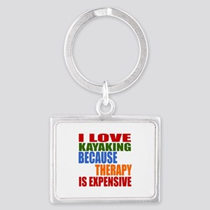I Love Kayaking Because Therapy Landscape Keychain