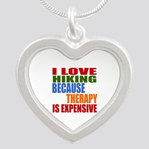 I Love Hiking Because Therap Silver Heart Necklace