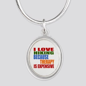 I Love Hiking Because Therapy Silver Oval Necklace