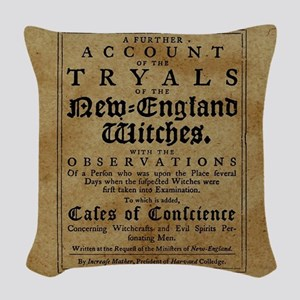 Old Salem Witch Trials Woven Throw Pillow