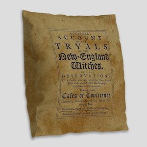 Old Salem Witch Trials Burlap Throw Pillow