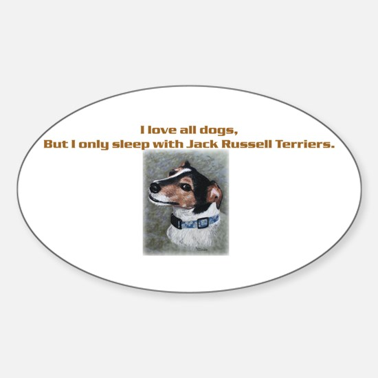 Sleeps with Jack Russells Oval Decal