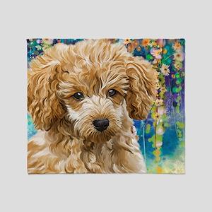 Poodle Painting Throw Blanket