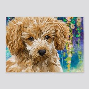 Poodle Painting 5'x7'Area Rug