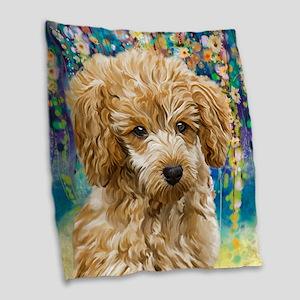 Poodle Painting Burlap Throw Pillow