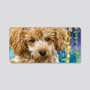 Poodle Painting Aluminum License Plate