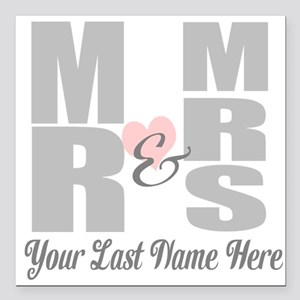 """Mr and Mrs Love Square Car Magnet 3"""" x 3"""""""