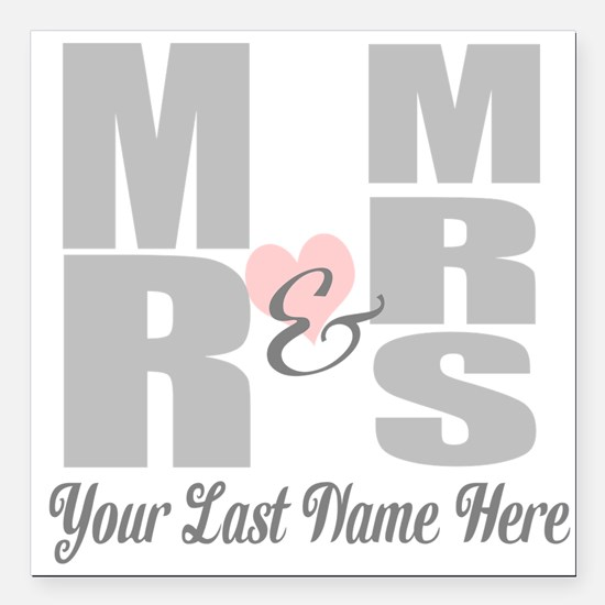 "Mr and Mrs Love Square Car Magnet 3"" x 3"""
