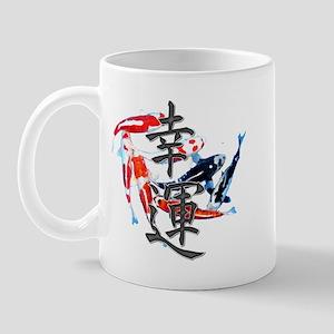 "Kanji ""Good Fortune"" w/ Koi Mug"