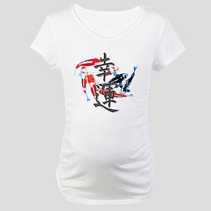 "Kanji ""Good Fortune"" w/ Koi Maternity T-Shirt"