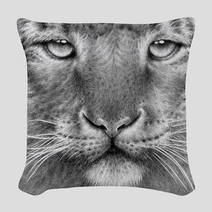 Snow Leopard Woven Throw Pillow