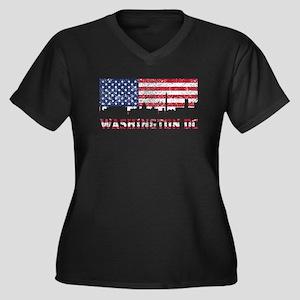 Washington DC American Flag Skyline Plus Size T-Sh