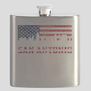 San Antonio TX American Flag Skyline Flask