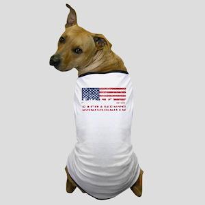 Sacramento CA American Flag Skyline Dog T-Shirt